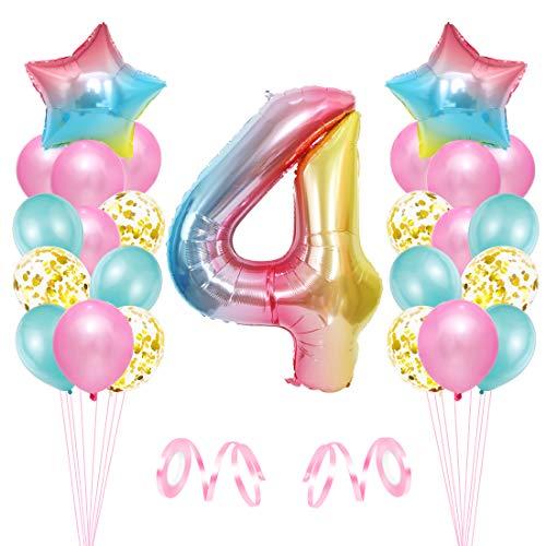 4er Cumpleaños Globos, Decoración de Cumpleaños 4 en Rosado, Cumpleaños 4 Año, Feliz Cumpleaños Decoración Globos 4 Años, Globos de Confeti y Aluminio para Niñas