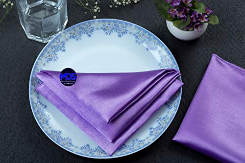 mds Pack of 10 Wedding Satin 20' X 20' Heavy Duty Table Linen Napkin or Handkerchief Dinner Napkins for Wedding Banquet,Home Parties Decoration - Lavender