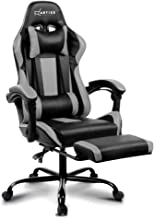 Artiss Gaming Chair Office Computer Racing PU Leather Adjustable Executive Chair with Armrest Highback Black Grey