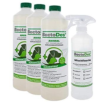 BactoDes Lot de 3 désodorisants concentré pour animal - 3 x 1 litre - Avec flacon de mélange - Destructeur d'odeurs pour urine de chat, urine de chien et petits animaux
