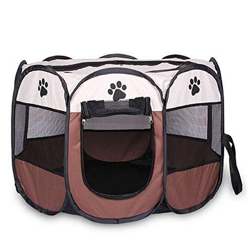 Willlly Tienda plegable portátil The Pet House of Chic Dog Cage Dog Cat Tent Runway Elpen Kennel fácil operación, valla octogonal #A (color Weiss+Koffee, talla única: talla única)