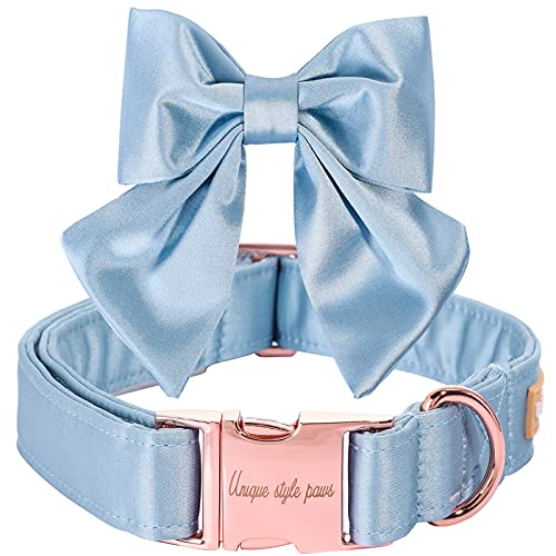 Unique style paws Collar para perros de seda azul, ajustable, duradero, con lazo, para boda, para perros grandes
