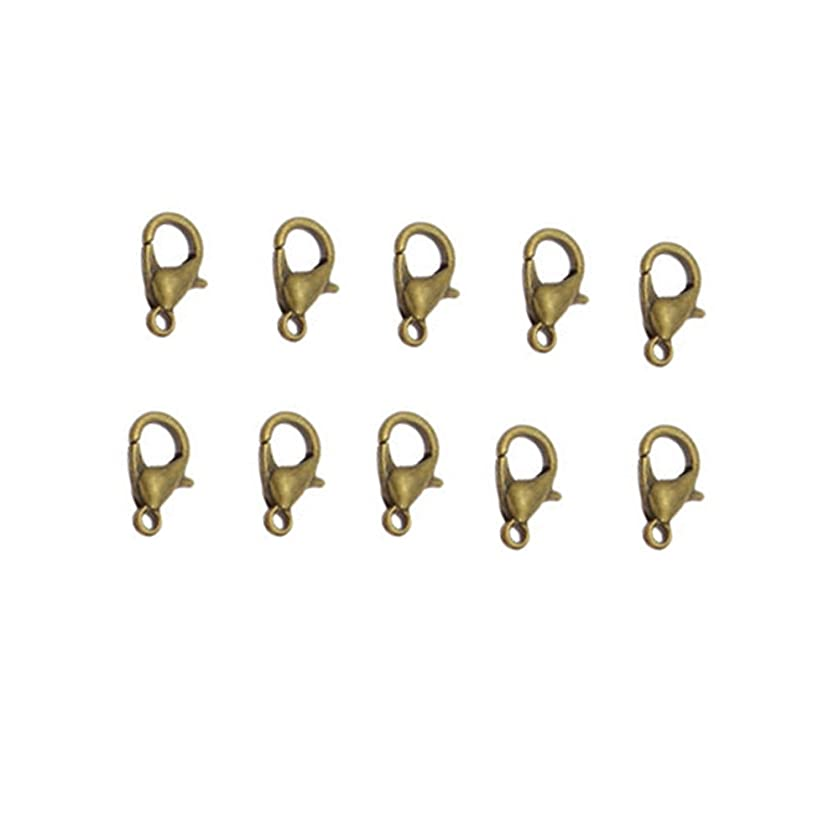 Yueton? Curved Lobster Clasps-100pcs 7x12mm Lobster Claw Clasps DIY Jewelry Fastener Hook, Necklace DIY Fasteners (Bronze)