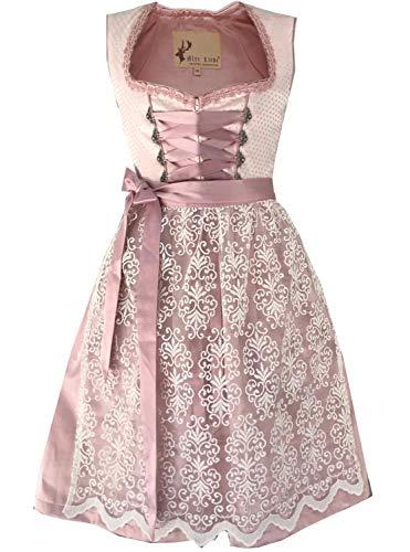 Alte Liebe Trachtenkleid 2tlg. Damen Dirndl Kleid in Rose mit Spitzenschürze Gr. 34,36,38,40,42,44,46, Rosa Beige, 36