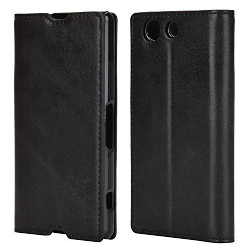 Mulbess Handyhülle für Sony Xperia Z3 Compact Hülle Leder, Sony Xperia Z3 Compact Handytasche, Slim Flip Schutzhülle für Sony Xperia Z3 Compact Case, Schwarz
