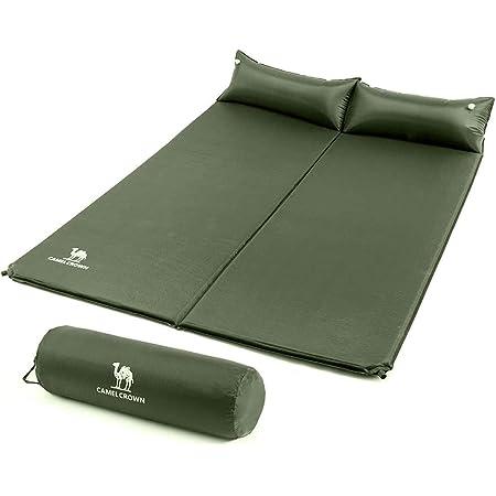 CAMEL CROWN Colchoneta de espuma de 5 cm de grosor, individual o doble, colchón de aire con almohada de viaje impermeable para senderismo, viajes, camping, mochilero, playa