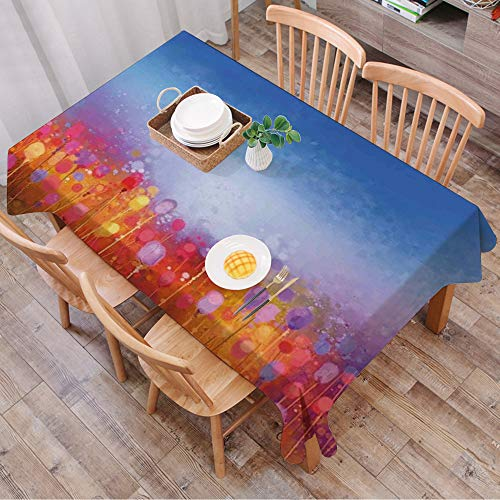 Rechteck Tischdecke140 x 200 cm,Aquarell Blume, Tulip Garden unter blauem Himmel in mittelalterlichen o,Couchtisch Tischdecke Gartentischdecke, Mehrweg, Abwaschbar Küchentischabdeckung für Speisetisch
