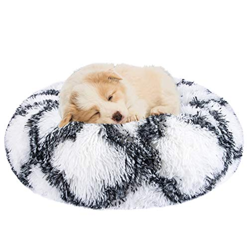 INVENHO Orthopedic Dog Bed Cat Bed for Small Medium Dogs Pet Bed Donut Cuddler Round Soft Calming Bed, Self Warming and Washable Sleeping Bed (16-Inch, Gray White)