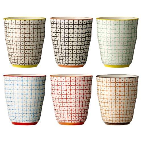 Bloomingville Becher Carla, rot orange blau grün, Keramik, 6er Set
