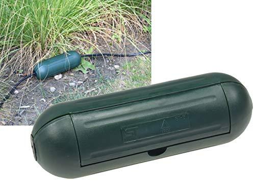 Outdoor Sicherheitsbox IP44 Schutzbox Grün Safe-Box für Kabelverbindung Spritzwasserschutz Schutzkaspel für Verlängerungskabel und Stromstecker im Aussenbereich