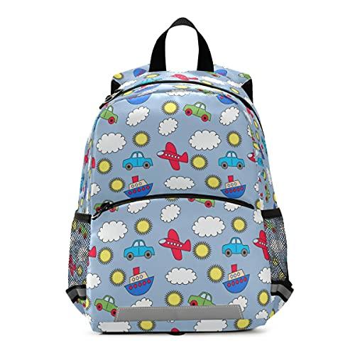 OREZI Toddler Backpack for Boys Girls,Colorful Transportation Airplane Cars Grey Kid