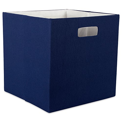DII Hard Sided Collapsible Fabric Storage Container for Nursery, Offices, & Home Organization, (13x13x13) - Solid Nautical Blue