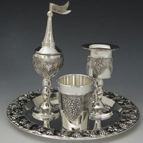 Grapes Motifs Silver Plated 4 Piece Havdalah Set by Legacy Judaica