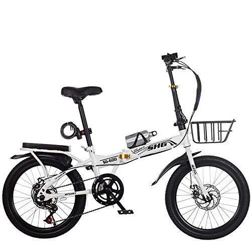 Comooc Klappfahrrad 16/20 Zoll Variable Geschwindigkeit Scheibenbremse Erwachsene Ultraleicht Tragbares Fahrrad Männer und Erwachsene Kleines Fahrrad, weiß, 50,80 cm
