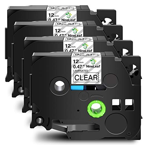 """NineLeaf 4PK Compatible for Brother P-Touch TZe-131 TZe131 TZ131 TZ-131 Black on Clear Laminated Label Tape (1/2'' 0.47"""" 12mm x 26.2ft 8m) TZ TZe Tape Work in PT-D210 PT-H110 PT-H100 PT-D400 PT-D600"""