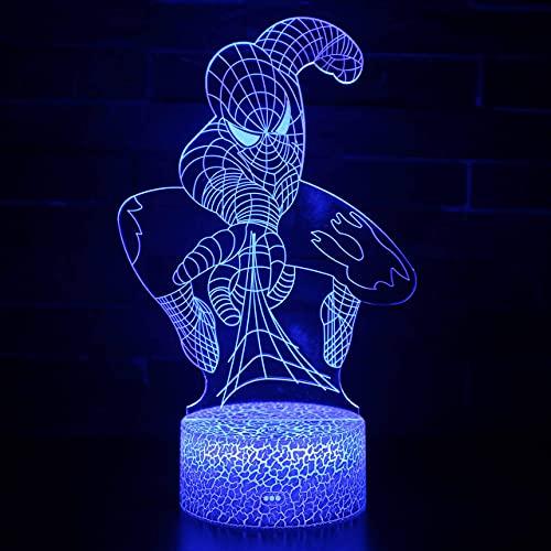 3D LED Lampe d'illusion Optique Lumière de Nuit Super-héros spiderman Décoration pour Enfant Chambre Chevet Table de Bébé Enfant Cadeau De Noël Fête Changement de couleur coloré, avec interface