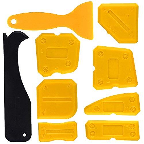 Kuuqa Silicone Sealant Raspador Herramienta de alisado Kit de herramientas de calafateo Herramientas de acabado de lechada para cuarto de baño Cocina, Set de 9
