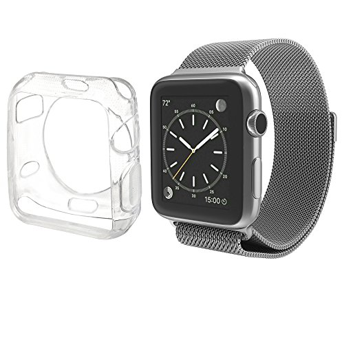 Lilware Xcessor Crystal Clear Cristallo Custodia per Apple Watch Orologio 42 mm. Flessibile TPU Gel. Claro