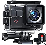 Action Camera AC700 4K 30fps/20MP EIS Sports Action Camera PC Webcam with External Microphone Remote Control 40M Underwater Waterproof DV Camcorder with 2 Batteries and Mount Accessories