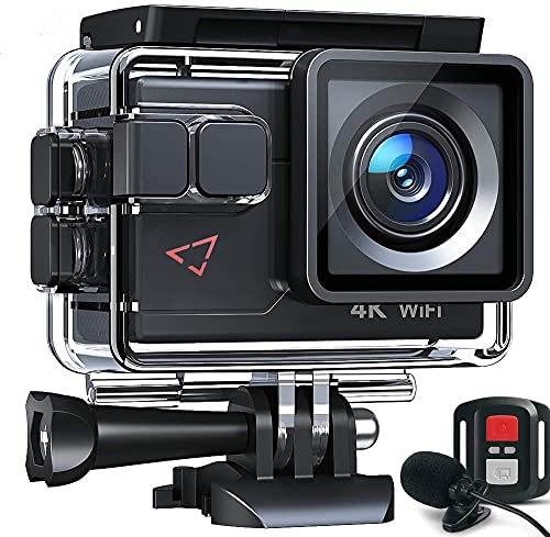 Govic Action Camera AC700 4K 30fps/20MP EIS Sports Action Camera PC Webcam with External Microphone Remote Control 40M Underwater Waterproof DV Camcorder with 2 Batteries and Mount Accessories