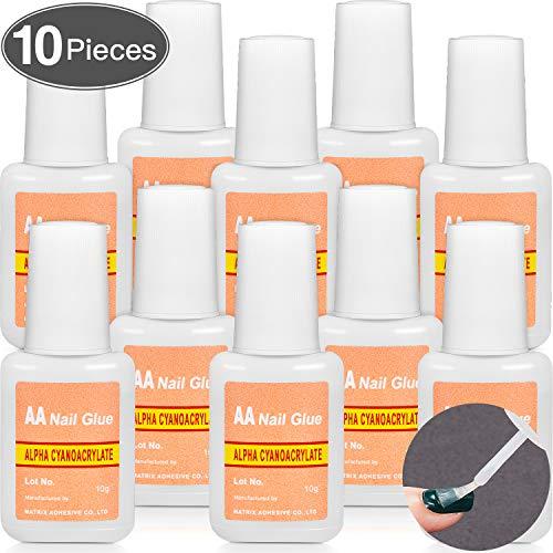 10 Packungen Falscher Nagelkleber zum Aufbürsten Nagelkleber Schneller Nagelkleber für Nagel Make Up Zubehör (10 Packungen)