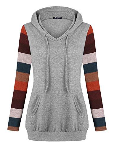 Miagooo Wear to Work Tops for Women, Long Sleeve Hoodies for Women Drawsting Crew Neck Pullover Hoodies Shirt for Leggings with Kangaroo Pocket(Gray,Medium)