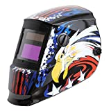 Antra AH6-260-6217 Solar Powered Auto Darkening Welding Helmet Wide Shade 4/5-8/9-13 with Grinding Feature Extra Lens Covers Great for TIG, MIG, MMA, Plasma