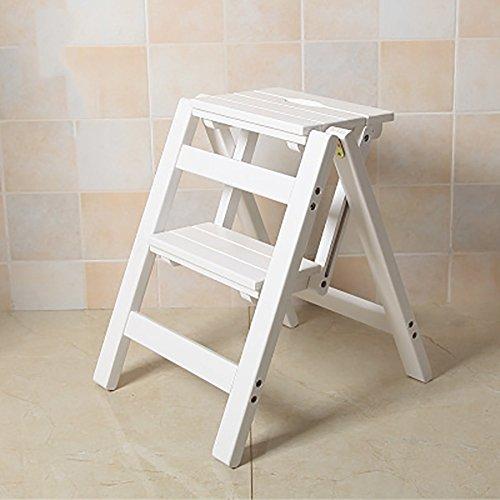 Yxsd 2-Stufen-Klapp-Holz-Trittleiter, Portable Trittleiter-Leiter-Sitz Vielseitig Home Küche Badezimmer Büromöbel Leiter Stuhl (Farbe : Weiß)