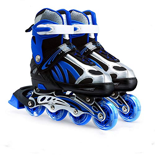 Full Flash Kinder Erwachsene Inline Skates Männer und Frauen Einstellbare Größe Inline Rollschuhe Upgrade Kinder Roller Blade Jungen und Mädchen Pu Mesh-Blau_(38-43)