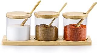 Skelang Pot à Épices en Verre avec Couvercle et Cuillère, Pot à Sel Boîte, Bocaux à Condiments en Verre, pour Conserver le...