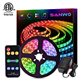 Dream Color LED Strip Lights Sync to Music, 16.4ft RGB 5050SMD Waterproof Flexible String Light - Built-in IC, 150LEDs Chase Effect Rope Lighting with RF Remote, 12V Power Supply