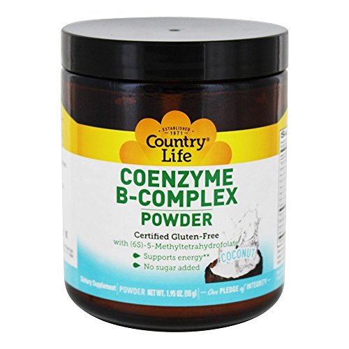 CountryLife Coenzyme B-Complex Natural Energy - Coconut Flavored, Non-GMO, No Sugar Added, Essential B-Vitamins - 30 Servings (1.95 oz) Powder