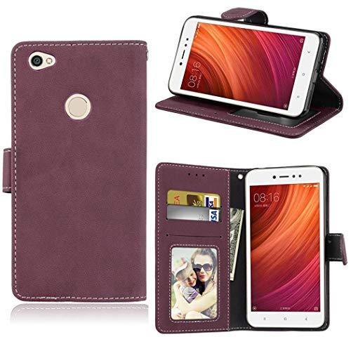 Ycloud Billetera Funda para Xiaomi Redmi Note 5A Prime Smartphone, Mate Textura PU Cuero Flip Plegable Carcasa con Soporte Función y Ranura para Tarjeta (Rosa Roja)