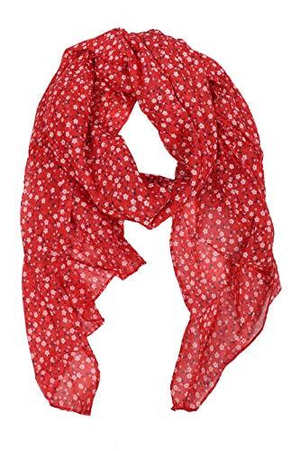 Zwillingsherz Seiden-Tuch im Blümchen Design - Hochwertiger Schal für Damen Mädchen - Halstuch - Umschlagstuch – Pashmina - Loop - weicher Schlauchschal für Frühjahr Sommer Herbst Winter - rot