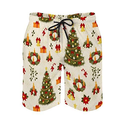 MayBlosom Pantalones cortos de playa para hombre, diseño retro de árbol de Navidad, de secado rápido, traje de baño hawaiano, para fiestas, trajes de baño con elástico
