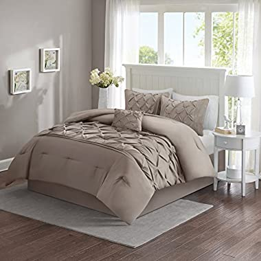 Comfort Spaces – Cavoy Comforter Set - 5 Piece – Tufted Pattern – Taupe All Season Comforter – Full/Queen size, includes 1 Comforter, 2 Shams, 1 Decorative Pillow, 1 Bed Skirt