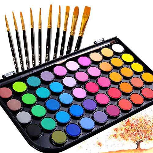 Sazooy Watercolor Paint Set - 48 Colors Watercolor Paint with 11 Acrylic Paint Brush Set for Artists, Adults, Students and Kids Best Gift for Beginners, Children and Art Lovers