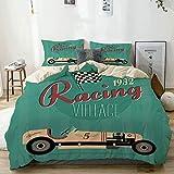 Juego de funda nórdica beige, impresión de póster de una máquina antigua de rally de nostalgia de automóvil clásico vintage, juego de cama decorativo de 3 piezas con 2 fundas de almohada, fácil cuidad