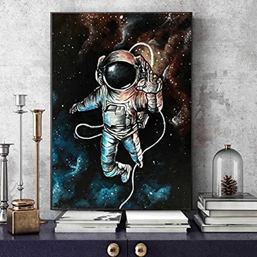 GZCJHP Målning på duk 50 x 70 cm ingen ram astronaut rymd drömmande stjärnor gräns väggkonst nordiska bilder för vardagsrum heminredning