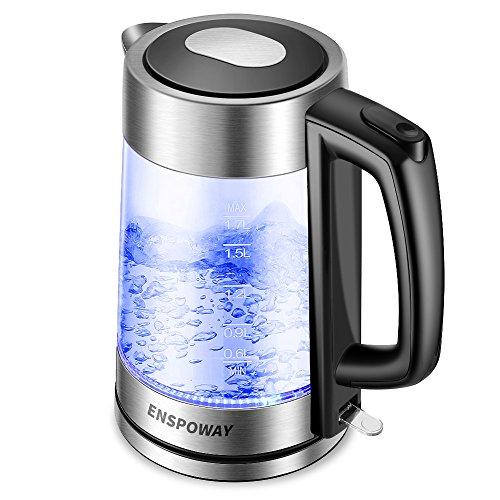Wasserkocher Glas mit LED Innenbeleuchtung, ENSPOWAY 1.7 L Wasserkocher 2200 W Cool-Touch-Griff Automatische Abschaltung Wasserkocher Trockenlauf- und Überhitzungsschutz Funktion
