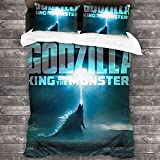 Godzilla - Juego de ropa de cama Godzilla, juego de funda nórdica de microfibra, diseño moderno, mejor decoración para habitaciones para niños y jóvenes (Godzilla-5, 140 x 210 cm + 80 x 80 cm x 2)