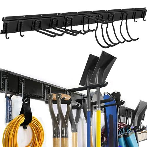 Garage Tool Organizer Wall Mount, 14 PCS Tool Storage Rack with 11 Adjustable Heavy Duty Storage Hooks, Aluminum Garden Tool Storage Racks 48 Inch, Hold Up to 850lbs