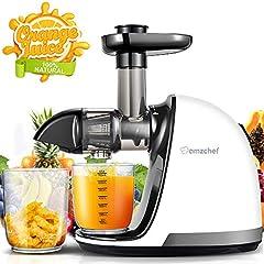 AMZCHEF Slow Juicer Sans BPA Déchiqueter Les légumes et les fruits Déchiqueteurs professionnels avec moteur et fonction inverse et buvette à jus et brosse de nettoyage (150 watts/ beige)