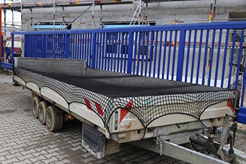 Abdecknetz 2,5m x 5m Transportnetz für Anhänger zur Ladungssicherung in schwarz