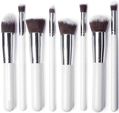 JVJ Pro spazzola cosmetico di trucco di spazzola di 8PCS set del sopracciglio dell'ombra cosmetico spazzola del fondamento Concealer -bianco