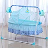 Loyalheartdy Electric Baby Swing, Auto Cradle Bed Big Space Crib Cots Cradle Infant Rocker Cradle Baby Swing Bassinet Cradle (Blue)