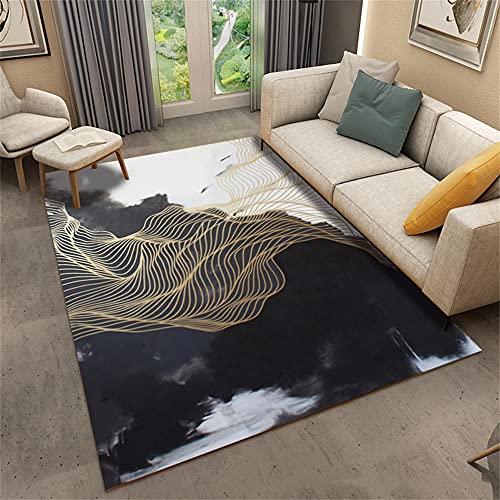 Alfombras Pasillo Alfombra De Exterior Black Metal Pattern Design Modern Home Office Lounge Caja Fuerte y Duradera Alfombras De Pie De Cama 140x200cm