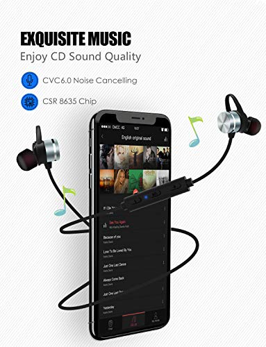 Bluetooth Headsets, KOOHO E1 4.1 Sport Bluetooth Headphones, in ear, Wireless Magnetic Headset, Sweat Resistant IPX6, Noise Reduction Microphone, for iPhone, Sony, Huawei (Gray)