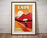 Vintage Poster Laos Vang Vieng Bridge - Silkscreen Style -