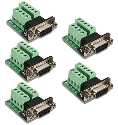 Kyrio 5 PCS DB9 Breakout Connector RS232 Seriell 9 Pin Female Adapter Connector DB9 Terminal Block Port Interface Breakout Board Connector mit Screwlocks Jack Schrauben